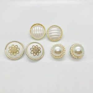 Jewelry - Lot of three vintage button style earrings